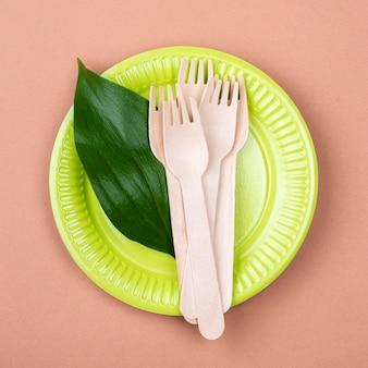 Zero waste zielona biodegradowalna zastawa stołowa