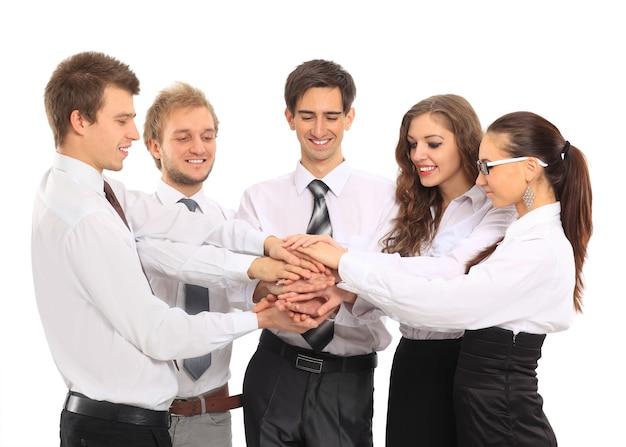 Zespół biznesowy przedstawiający roczne wyniki ustalonej strategii