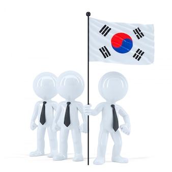 Zespół firmy z flagą korei południowej. odosobniony. zawiera ścieżkę przycinającą