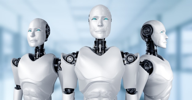 Zespół humanoidalny robot ai przedstawiający koncepcję pracy zespołowej i współpracy