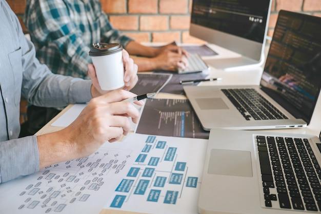 Zespół profesjonalnego programisty spotkanie współpracy i burzy mózgów i programowania na stronie internetowej pracuje nad oprogramowaniem i technologią kodowania