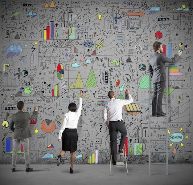 Zespół rysuje analizę biznesową na ścianie