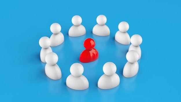 Zespół słucha czerwonego lidera. szef wśród pracowników. renderowania 3d.