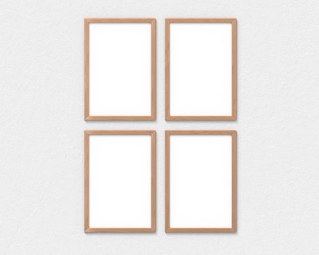 Zestaw 4 pionowych drewnianych ramek z zawieszką na ścianie