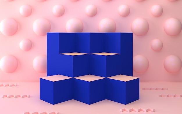 Zestaw abstrakcyjnych kształtów geometrycznych, minimalne abstrakcyjne tło, renderowanie 3d, scena z formami geometrycznymi