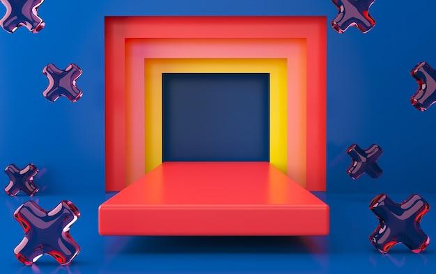 Zestaw abstrakcyjnych kształtów geometrycznych, minimalny portal, renderowanie 3d, scena z formami geometrycznymi