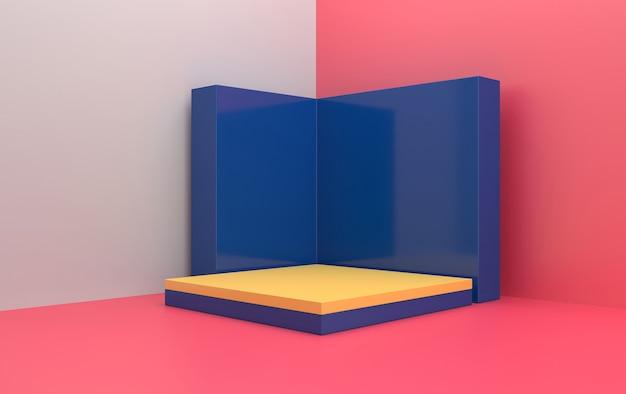 Zestaw abstrakcyjnych kształtów geometrycznych, różowe tło studio, prostokątny żółty cokół z niebieską ścianą, renderowanie 3d, scena z formami geometrycznymi, minimalistyczna scena modowa, prosty, czysty design
