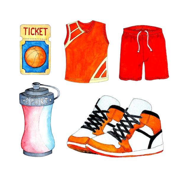Zestaw akwarela do koszykówki. spodenki i t-shirt, mundury, trampki i sportowa butelka na wodę.