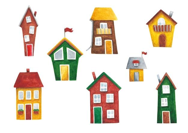 Zestaw akwareli domy clip art