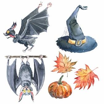 Zestaw akwareli na halloween: liść klonu, nietoperz, dynia, kapelusz czarownicy i napis halloween.