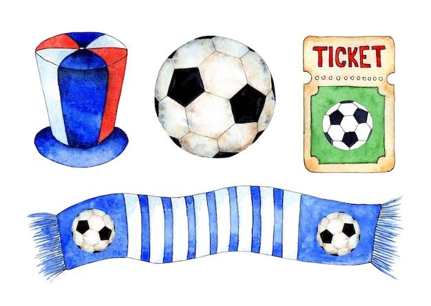 Zestaw akwareli przedstawiający kibica piłki nożnej, szalik z piłką i bilet na mecz grupa wsparcia
