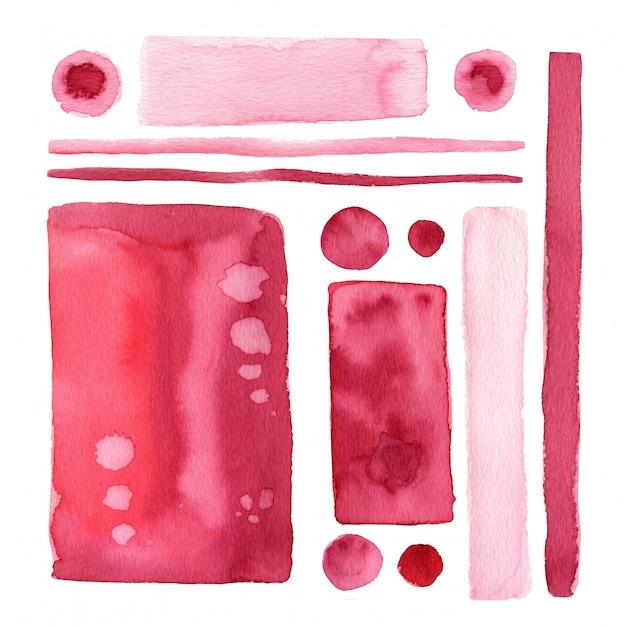 Zestaw akwareli ręcznie maluj kształty i element w kolorze marsali