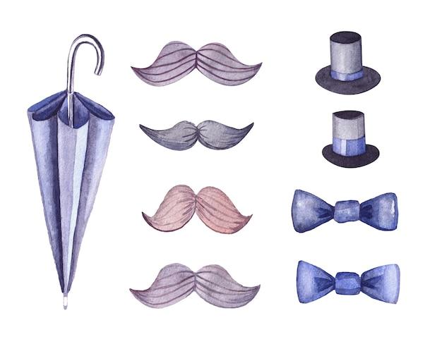 Zestaw akwarelowy mały dżentelmen dla mężczyzn i chłopców. komplet do sklepów z męskimi garniturami i dodatkami: parasolka, czapki cylindry, wąsy, muszka