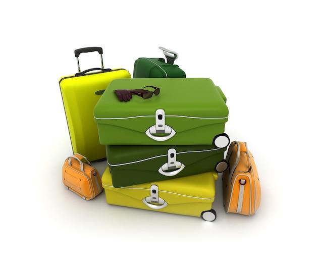 Zestaw bagażowy w kolorze zielonym, żółtym i pomarańczowym