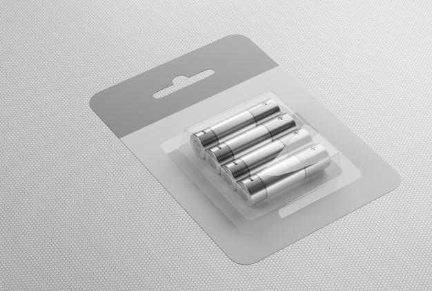 Zestaw baterii aa na białym tle. umieść baterie w kartonowym pudełku na stole. renderowane 3d.