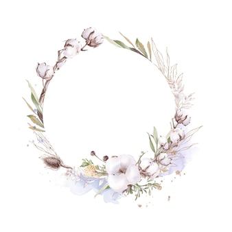 Zestaw bawełnianych kwiatów w złotej ramie. akwarela ilustracja.