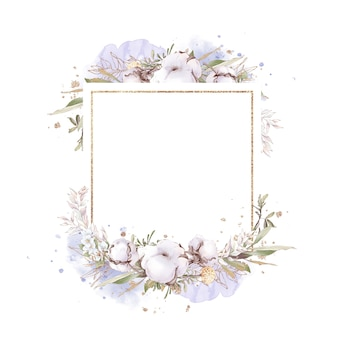 Zestaw bawełnianych kwiatów w złotej ramie. ilustracja akwarela