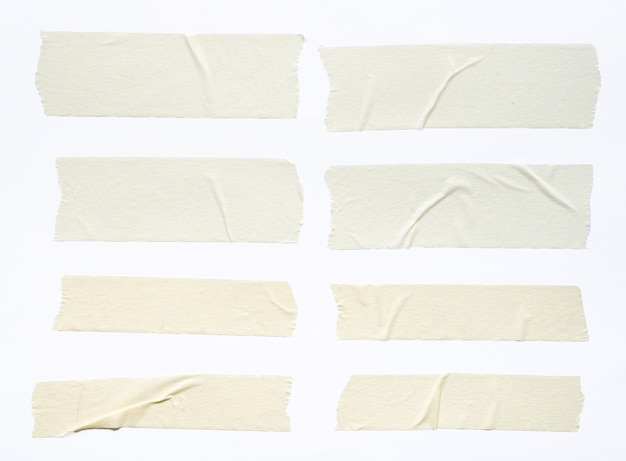 Zestaw białych taśm samoprzylepnych na białym tle