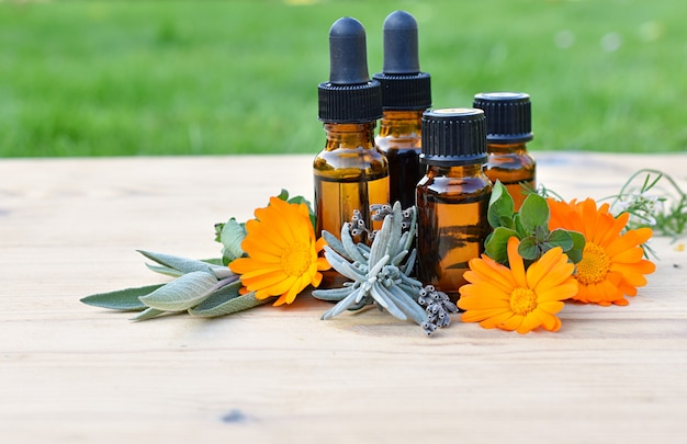 Zestaw brązowych butelek z olejkami eterycznymi i kosmetycznymi, świeżymi ziołami i kwiatami, aromaterapią, fitoterapią.