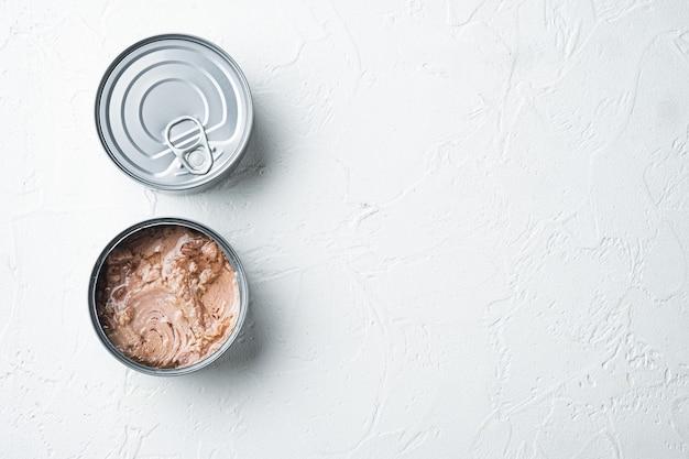 Zestaw canned chunk light tuna, w puszce, na białym tle
