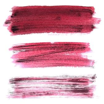 Zestaw ciemnoczerwony nieczysty pociągnięcia pędzlem na białym tle na białym tle. elementy do twojego projektu