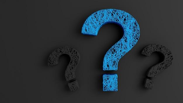Zestaw cienkich pasm skręconych razem w postaci trzech znaków zapytania na czarnym tle
