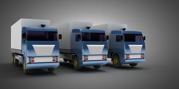 Zestaw ciężarówek na szarym tle