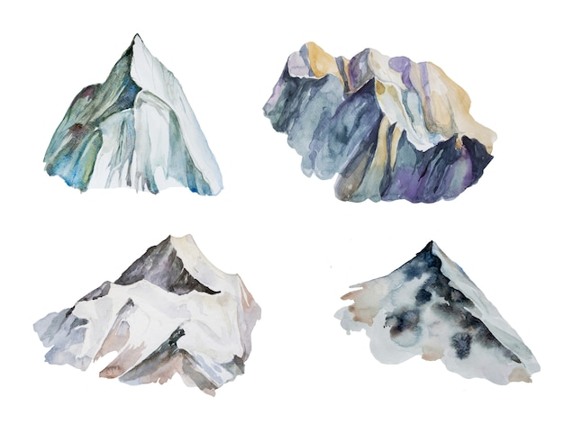 Zestaw clipartów akwarela góry