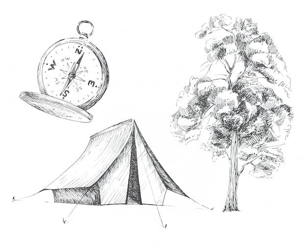 Zestaw clipartów o tematyce graficzny camping na białym tle. namiot, vintage kompas i ilustracje drzew. zestaw koncepcji podróży.