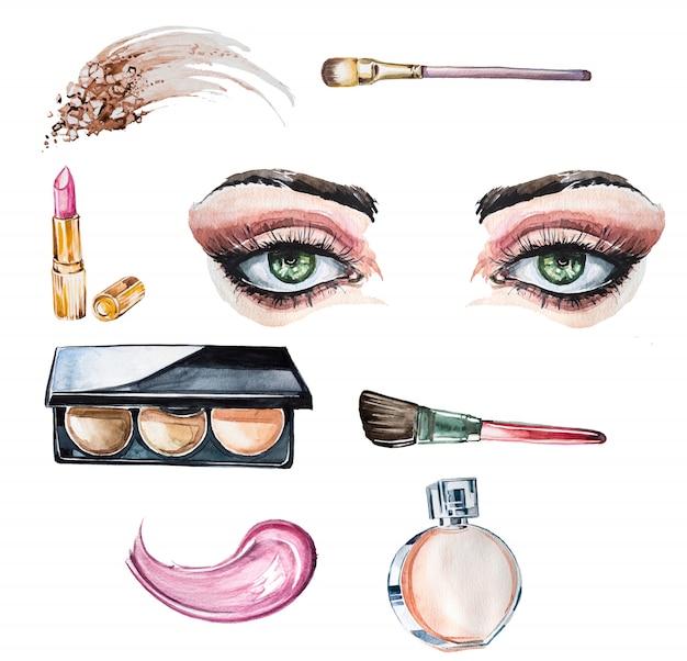 Zestaw clipartów ręcznie malowane akwarela. projektowanie biznesu kosmetycznego. ilustracja kosmetologii.