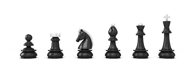 Zestaw czarnych drewnianych szachów na białym tle