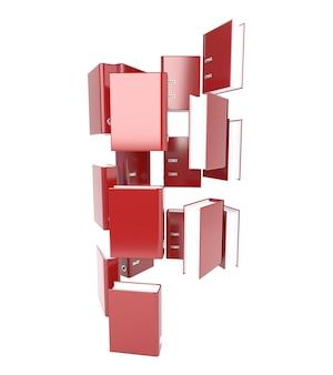 Zestaw czerwony folder na białym tle. drzewo katalogów. 3d ilustracja.