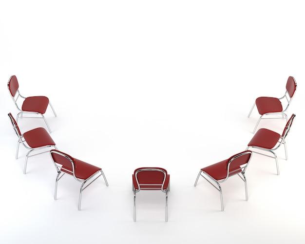 Zestaw czerwonych krzeseł, na białym tle.