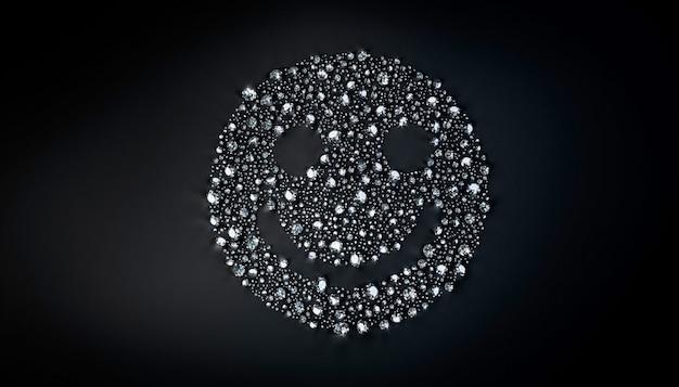 Zestaw diamentów leżących w kształcie uśmiechniętej twarzy na powierzchni. 3d ilustracji