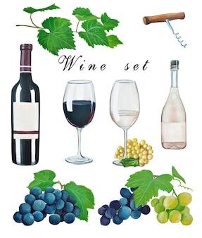 Zestaw do wina, liście winogron, winogrona, otwieracz do butelek, wino w butelce, kieliszki do wina ręcznie rysowane gwaszem i akwarelą. styl formularza