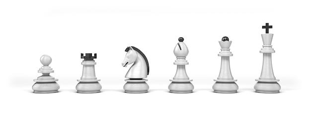 Zestaw drewnianych białych szachów na białym tle