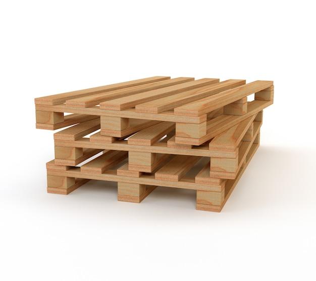Zestaw drewnianych palet na białym tle. 3d ilustracja.