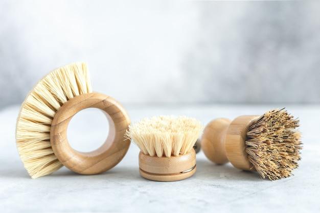 Zestaw drewnianych szczotek bambusowych do mycia naczyń i sprzątania domu