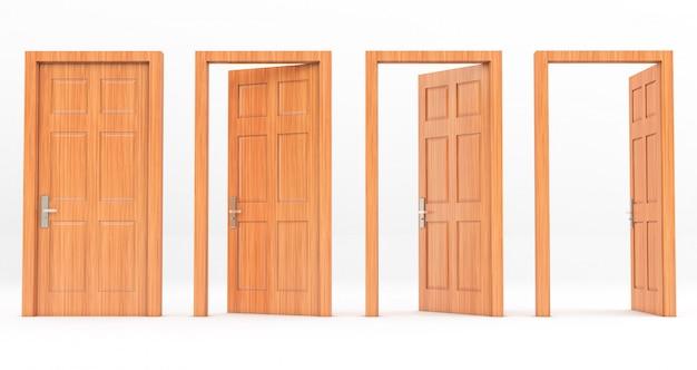 Zestaw drzwi drewnianych w różnych etapach otwierania na białym tle na białym tle. renderowanie 3d