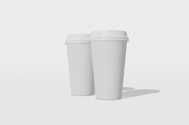 Zestaw dwóch białych makiet kubek z pokrywką na białym tle. renderowanie 3d