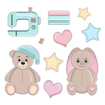 Zestaw elementów do szycia i uszytych zabawek, maszyna do szycia clipart, ręcznie rysowane ilustracji