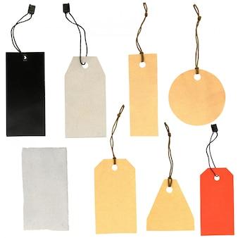 Zestaw etykiet o różnych kształtach na białym