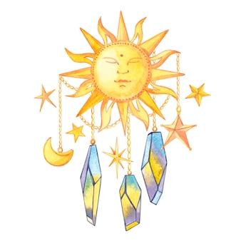 Zestaw geometrycznych kryształów na łańcuszku z gwiazdami oraz półksiężycem i słońcem.