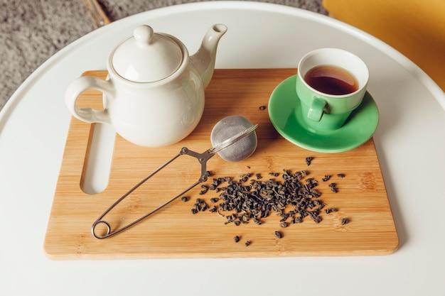 Zestaw herbaty na pokładzie
