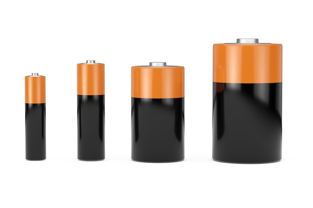 Zestaw ikon baterii alkalicznych z różnymi rozmiarami aaa, aa, c, d i wolnym miejscem na projekt na białym tle. renderowanie 3d
