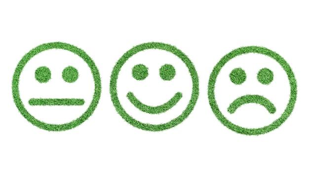 Zestaw ikon buźki. emotikony pozytywne, neutralne i negatywne wykonane z trawy izolowane.
