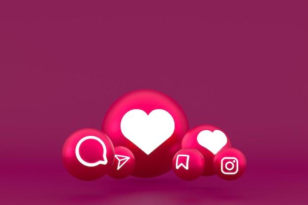 Zestaw ikon instagram renderowania 3d na czerwonym tle