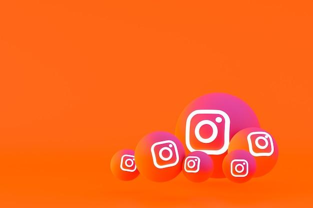 Zestaw ikon instagram renderowania 3d na pomarańczowym tle