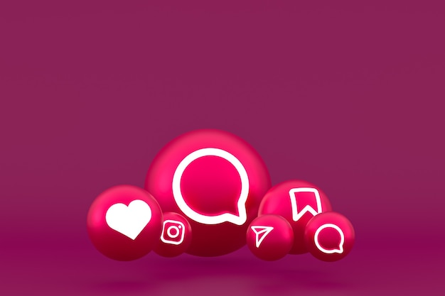 Zestaw ikon instagram renderowania na czerwonym tle