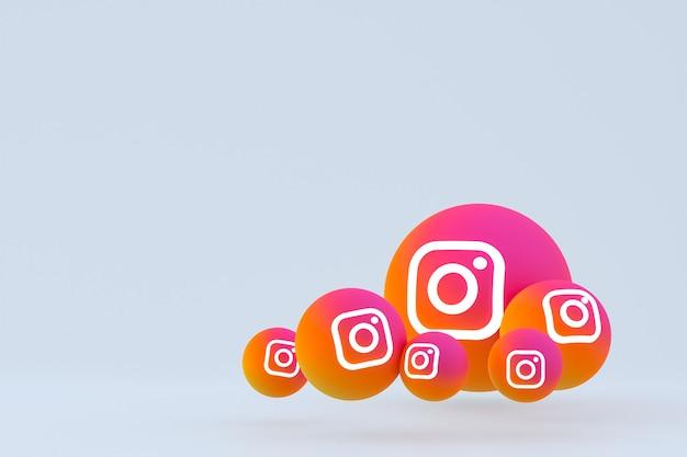 Zestaw ikon instagram renderowania na szarym tle